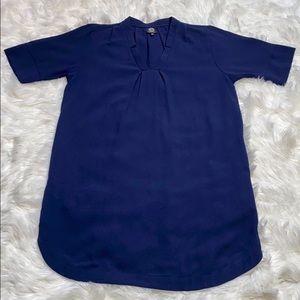 bobeau Dresses - Bobeau Navy Notch V-Neck Short Sleeve Shirt Dress